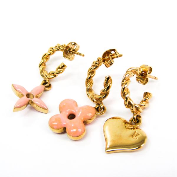 Louis Vuitton Boucque Dreille Sweet Monogram 3-piece Set M65754 Metal Earrings Gold,Pink