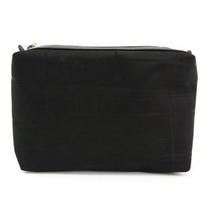 Salvatore Ferragamo Cosmetic Pouch Makeup Pouch AU-22 6639 Women's Leather,Nylon Canvas Pouch Black