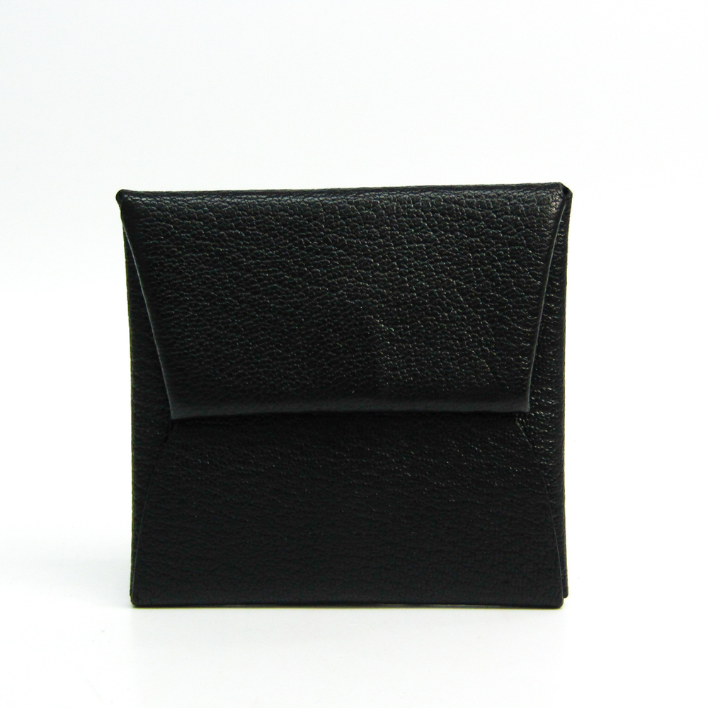 Hermes Bastia Unisex Chevre Myzore Leather Coin Purse/coin Case Black