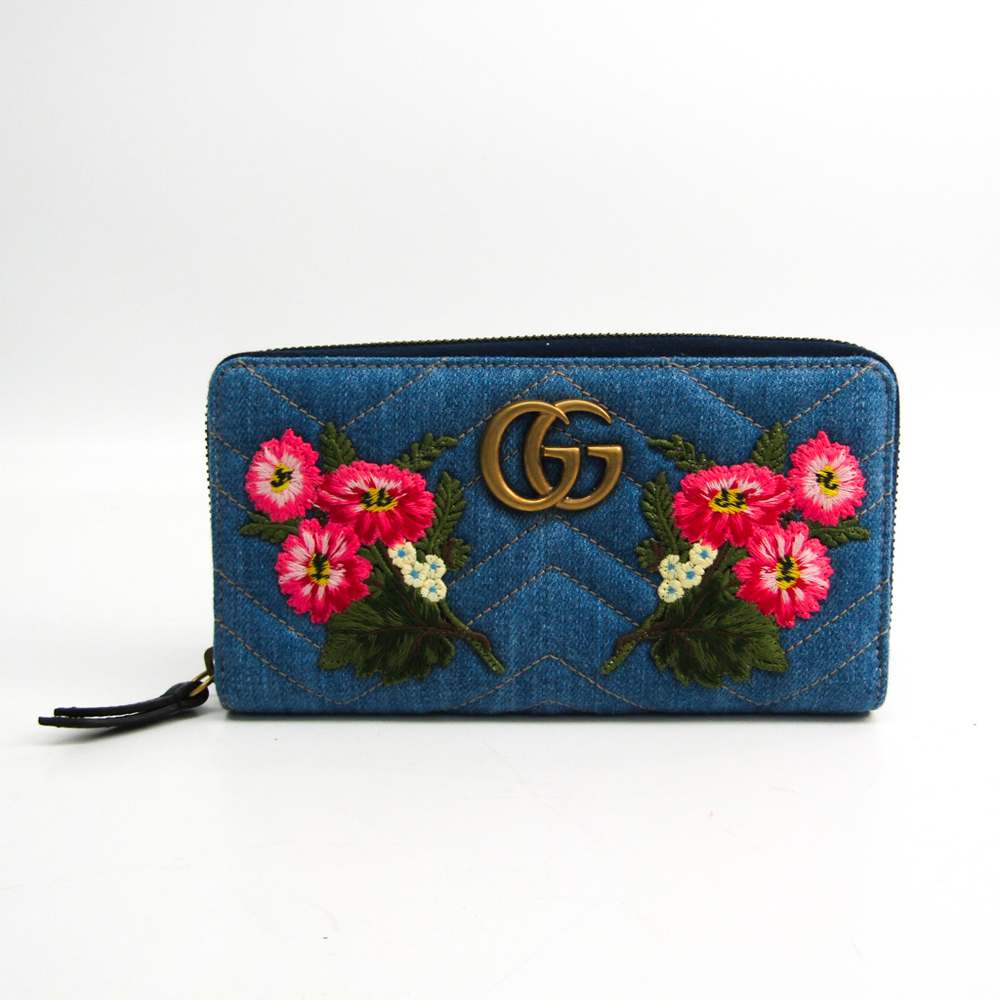 Gucci GG Marmont Floral Embroidery Japan Limited 443123 Women's Leather,Denim Long Wallet (bi-fold) Blue,Multi-color
