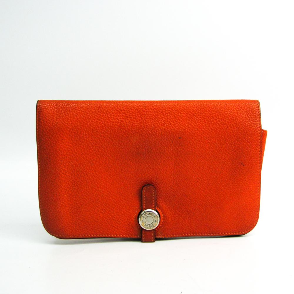 Hermes Dogon GM Unisex Taurillon Clemence Leather Long Wallet (bi-fold) Orange