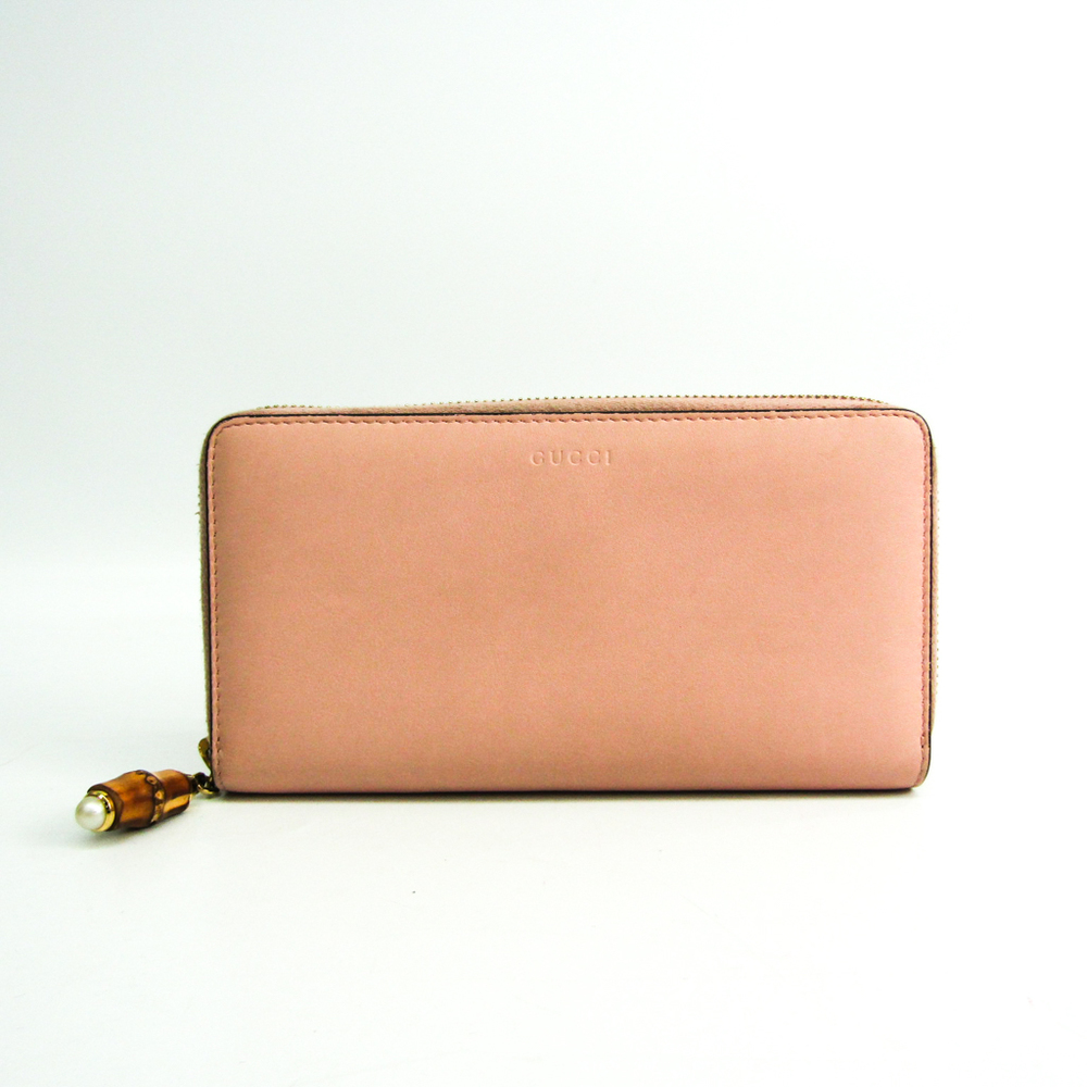 Gucci Bamboo Nim Fair 453158 Women's Leather Long Wallet (bi-fold) Light Pink
