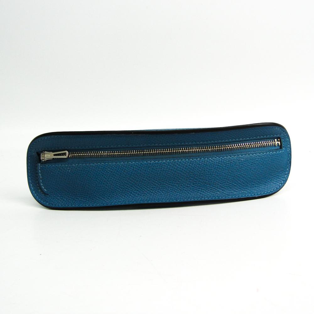 Hermes Epsom Leather Pen Case (Blue) Surf