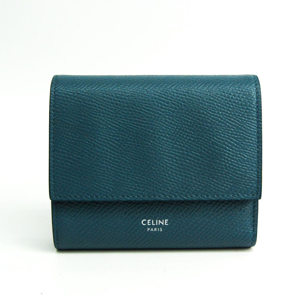 Celine Small Trifold Wallet 10B573 Women's  Embossed Calf Leather Wallet (tri-fold) Blue