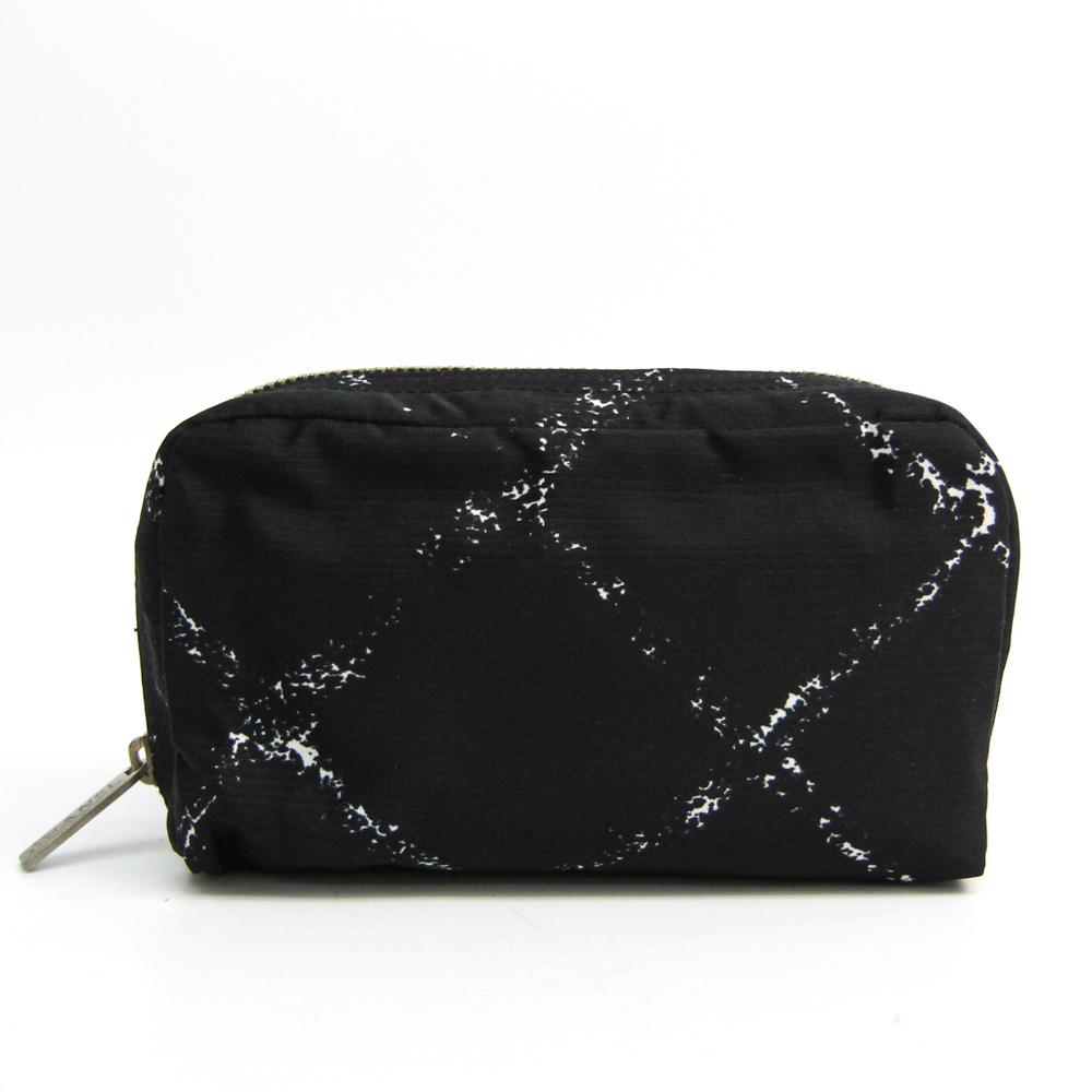 シャネル(Chanel) 旧トラベルライン ナイロン ポーチ ブラック,ホワイト