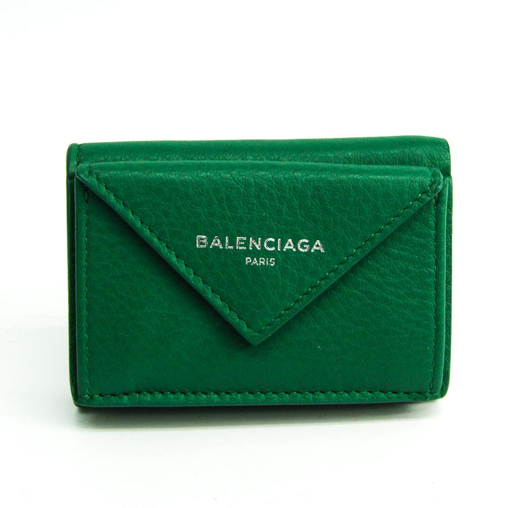 Balenciaga Paper Mini Wallet 391446 Women's Leather Wallet (tri-fold) Green