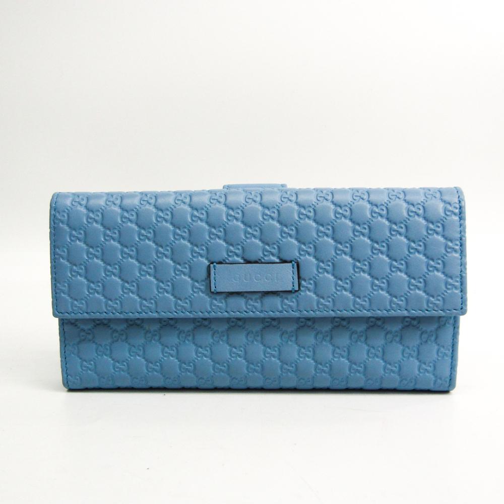 Gucci MicroGuccissima 449393 Women's Micro GG Leather Long Wallet (bi-fold) Light Blue
