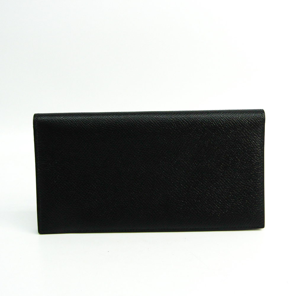 Hermes Osaka Unisex Leather Long Wallet (bi-fold) Black