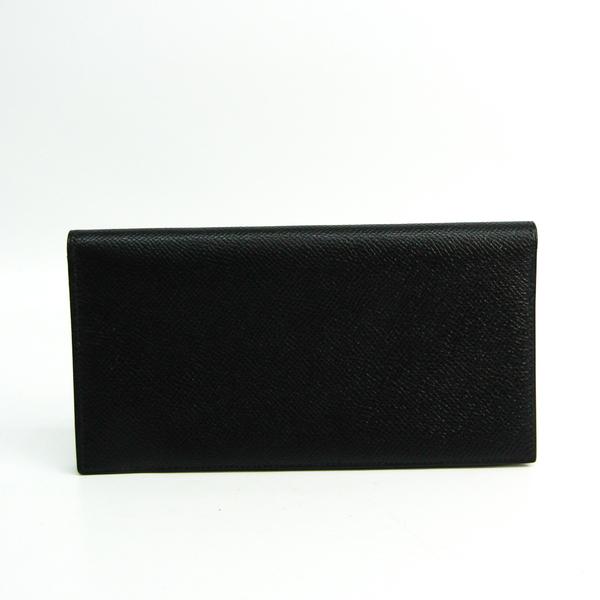 Hermes Osaka Unisex Leather Long Wallet (bi-fold) Black