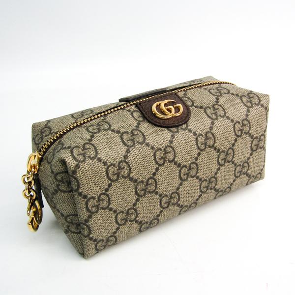 Gucci GG Supreme Ophidia 548394 Women's GG Supreme,Leather Pouch Beige,Dark Brown