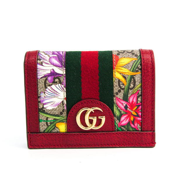 Gucci Ophidia GG Flora 523155 Leather,PVC Wallet (bi-fold) Beige,Brown,Multi-color,Red Color