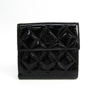 シャネル(Chanel) マトラッセ レディース  エナメルレザー 財布(二つ折り) ブラック