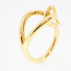 Auth Hermes Jumbo Scarf Ring Jumbo Gold Plating Ring Gold