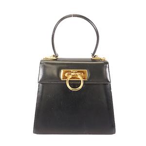 Auth Salvatore Ferragamo Gancini Women's Leather Handbag Black