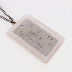 Auth Chanel Necklace Coco Mark Square Plate Resin Silver Color 99S 1999 Summer Collection
