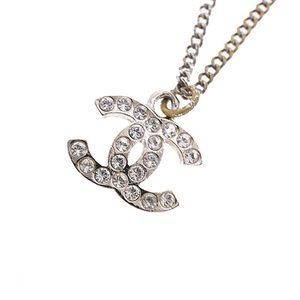 Auth Chanel Necklace Coco Mark Metal Material Silver Color C11V 2011 Classic Collection