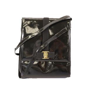 Auth Salvatore Ferragamo Vara Shoulder Bag Women's Patent Leather Black