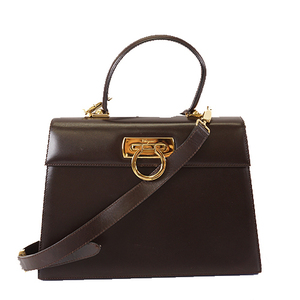 Auth Salvatore Ferragamo Gancini 2way Bag Women's Leather Handbag,Shoulder Bag