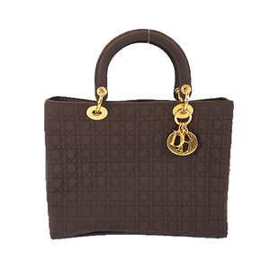 Auth Christian Dior Lady Dior Women's Cotton Handbag Brown