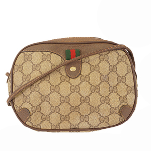 Auth Gucci Sherry Line 89 02 066 Women's GG Supreme Shoulder Bag Beige