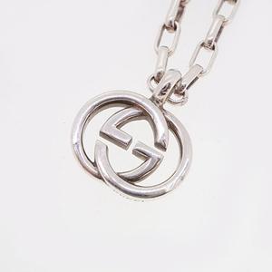 Auth Gucci Necklace Interlocking G Mark Logo Motif Silver 925 Chain Necklace