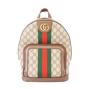 Auth Gucci Sherry Line Ofdia Rucksack Women's GG Supreme Backpack Beige