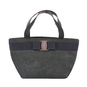 Auth Salvatore Ferragamo Vara Handbag Women's Leather Handbag Black