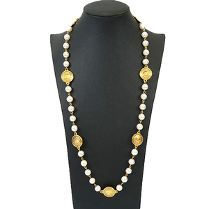 Auth Chanel Necklace Fake Pearl GP Plated Gold Color Long Vintage Old Chanel