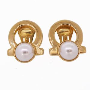 Salvatore Ferragamo Gancini Earring GP Plated Artificial pearl Gold Color