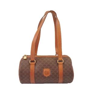 Auth Celine Macadam Handbag Women's PVC Handbag Brown