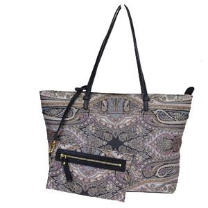 Etro Paisley PVC,Leather Shoulder Bag Black