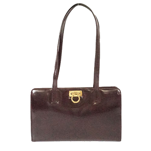 Auth Salvatore Ferragamo Gancini Women's Shoulder Bag,Tote Bag Brown