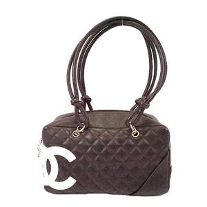 Auth Chanel Ligne Cambon Women's Leather Boston Bag,Shoulder Bag Black