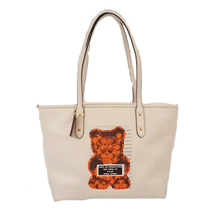 Auth Coach Tote Bag F78203  Leather Ivory Gold Hardware
