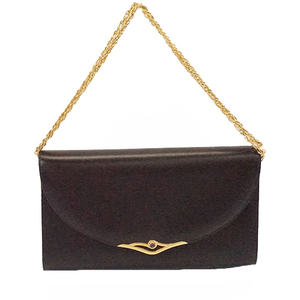 Auth Cartier Shoulder Bag Women's Leather Clutch Bag,Evening Bag,Pochette,Navy