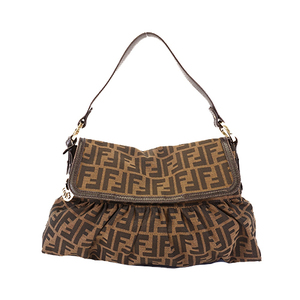 Auth Fendi Zucca Women's Canvas Shoulder Bag Brown