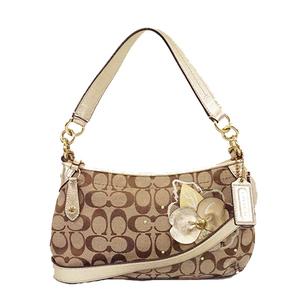 Auth Coach Signature Shoulder Bag F16627 Women's Canvas Beige Gold Hardware
