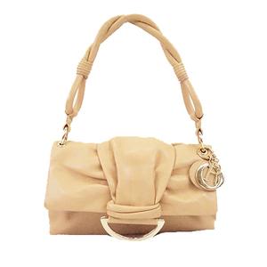 Auth Christian Dior Women's Leather Shoulder Bag Beige