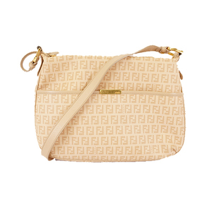 Auth Fendi Zucchino Shoulder Bag Women's PVC Beige