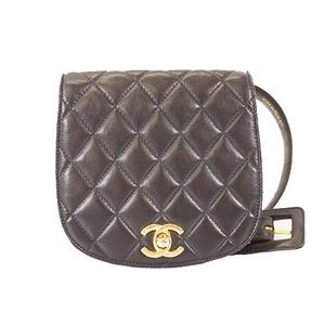 Auth Chanel Matelasse Waist Bag Women's Leather Fanny Pack Black