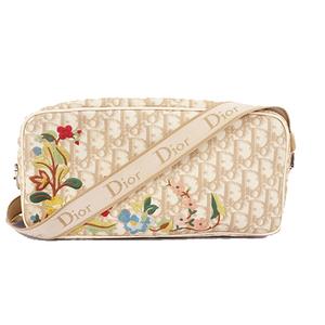 Auth Christian Dior Trotter  Shoulder Bag Women's Beige Silver Hardware