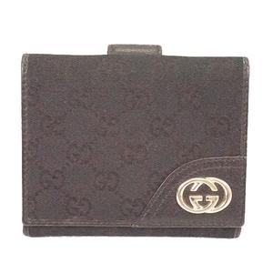 グッチ 二つ折り財布 GGキャンバス ブラック