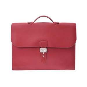 Hermès Suck a Depeche 38 Rouge bif palladium bracket □ I engraved men's fjord business bag AB rank HERMES second hand silver storage