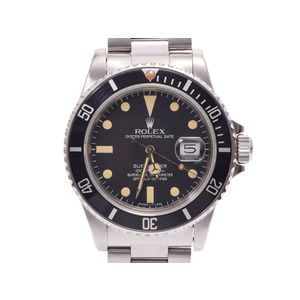 ROLEX Submariner 16800 Black letter board antique men's SS automatic winding wristwatch AB rank box galley used silver storage