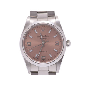 Rolex Air King Pink Dial 14000M F Men's SS Automatic Volume Watch A Rank Mid ROLEX Box Gala Used Ginza
