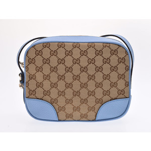Gucci shoulder bag blue beige ladies GG canvas leather outlet unused beautiful goods GUCCI secondhand silver store