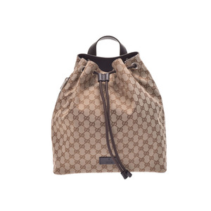 Gucci Draw Strong Backpack Beige Brown Ladies Men's GG Canvas Leather Outlet Unused Beauty Item GUCCI Used Ginza