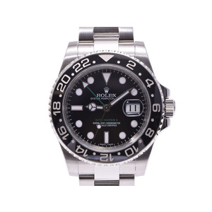 Rolex GMT Master 2 Black letterboard stick dial 116710LN V No. Men's SS automatic winding wristwatch A rank 美 品 ROLEX second hand silver storage
