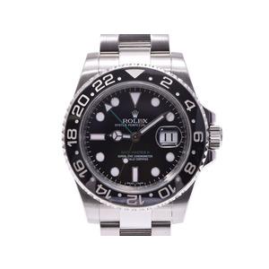 ロレックス GMTマスター2 黒文字盤 スティックダイヤル 116710LN V番 メンズ SS 自動巻 腕時計 Aランク 美品 ROLEX 中古 銀蔵