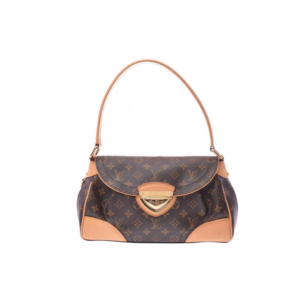 c4d7e7f991b2 Louis Vuitton Monogram Beverly MM Brown M40121 Women s Genuine Leather Shoulder  Bag B Rank LOUIS VUITTON ...